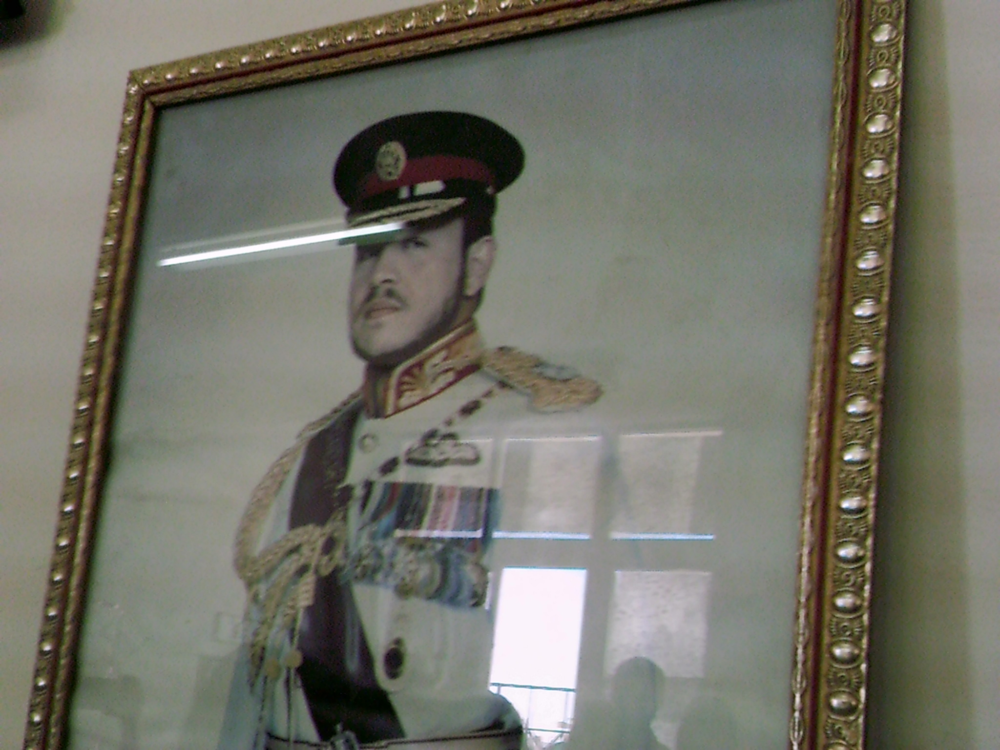 The King of Jordan, Abdullah II bin Al Hussein, is omnipresent in Jordan. This school is no exception: Paintings and photographs of the King are found at the school entrance, in the headmaster's office, and in the library.